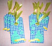 Pasqua Collection^^ - Lotto Etichette ChiudiPacco Pasqualine^^ Tag Decorative per Packaging e Scrapbooking (4pz) - Blue for Boy^^
