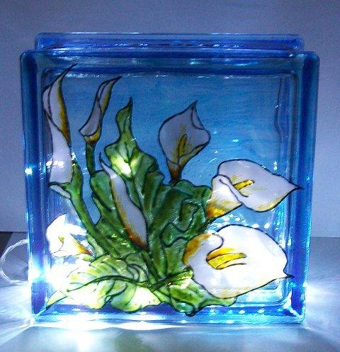 lampada fiori calla dipinta a mano