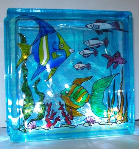 lampada acquario dipinta a mano