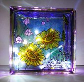 lampada fantasia fiori dipinta a mano