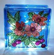 lampada fiori pesco dipinta a mano