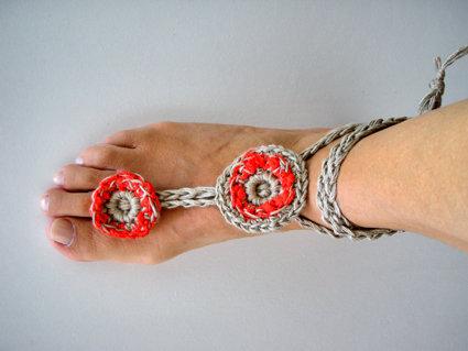 cavigliera gioiello uncinetto estate rosso corallo