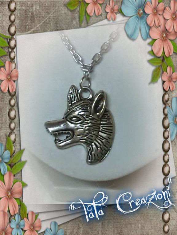 Collana lupo tono argento