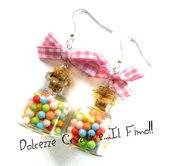 Orecchini Miniature - Bottigliette con caramelle e fiocco