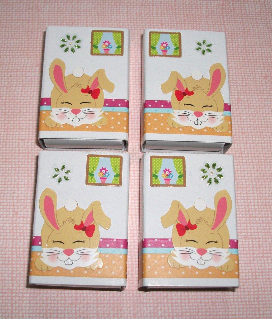 Pasqua Collection^^ - Lotto Scatoline decorate per regali e pensierini di pasqua - Bunny in Beige&Green (4pz)