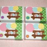 Pasqua Collection^^ - Lotto Scatoline decorate per regali e pensierini di pasqua - Ovetti sulla Panchina^^ (4pz)