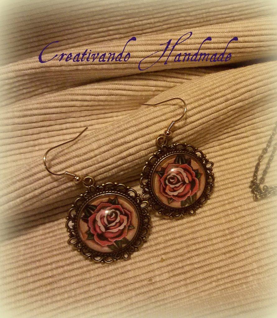 Orecchini Cammeo Cabochon Rosa 'Tattoo Collection'
