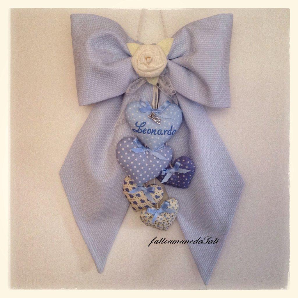 INSERZIONE RISERVATA PER EVELINE fiocco nascita in piquet di cotone azzurro con cuori