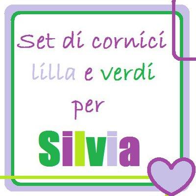 Set di cornici calamitate lilla e verdi per Silvia.