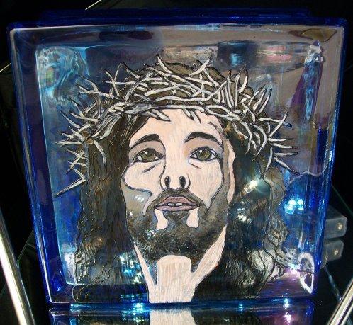 lampada volto di cristo dipintra a mano