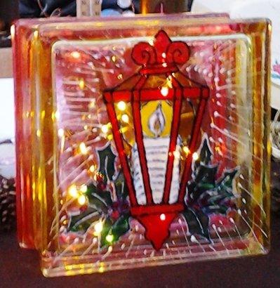 lampada lanterna natalizia dipinta a mano