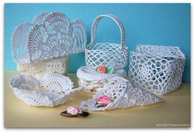 Bomboniere scatole, cestini, coni e portaoggeti - geometrie ad uncinetto- diversi formati, dimensioni e colori