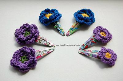 Coppia mollette fantasia grandi a clip con decorazioni fiori uncinetto