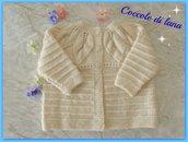 Golfino in lana color panna, realizzato a mano ai ferri, per bimba, taglia 2 anni