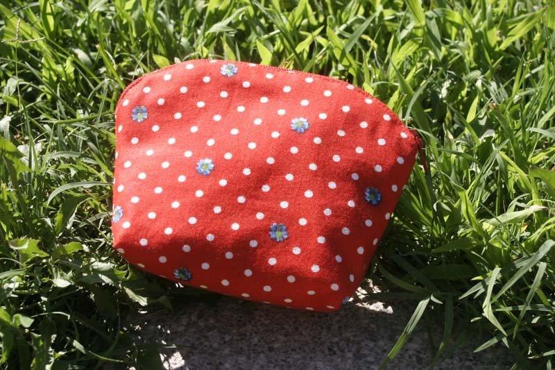 010 - Pochette Stoffa Americana - Red Dotted