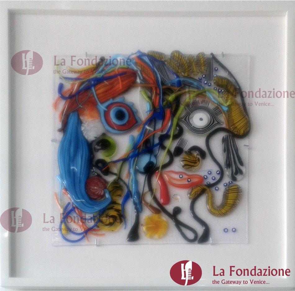 Quadro Picasso Pic in vetro di Murano