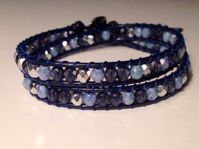 Chan luu 2 giri cuoio blu perline blu e argento