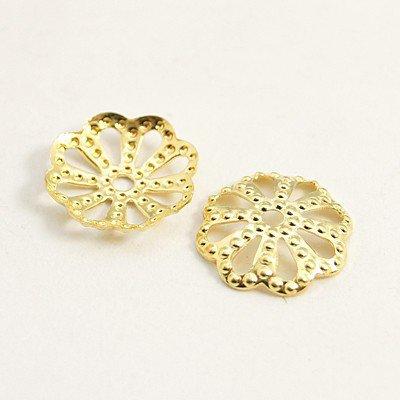 10 pz  copriperla fiore  oro in ottone (inossidabile!)