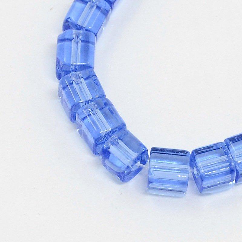 Perline a cubi cristallo azzurro trasparente  75~78 pcs/filo,