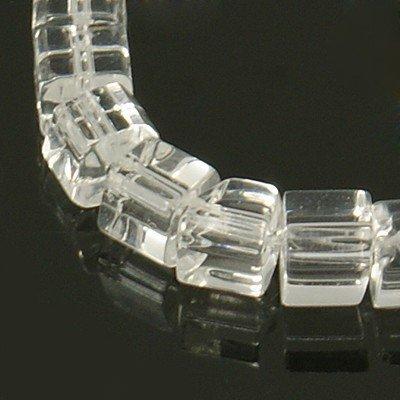 Perline a cubi cristalli bianco trasparente 75~78pcs/filo