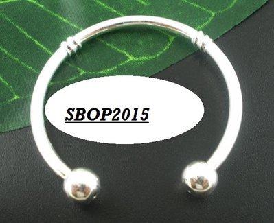 bracciale rigido Argentato  PER BAMBINE  per perle a foro Largo 13 cm