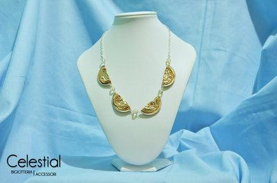Collana Nespresso e perle - Oro e Boemia Chiaro