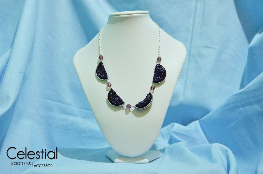 Collana Nespresso e perle - Viola