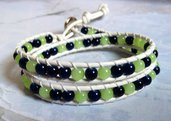 Chan luu 2 giri bianco perline verde blu