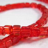 1 filo cubi cristalli rosso trasparente 75~78pcs/filo