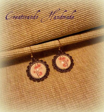 Orecchini Cammeo Cabochon Fiori di ciliegio 'Tattoo Collection'