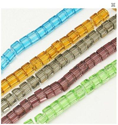 (10 fili ) cubi cristalli  misto colore  75~78pcs/filo
