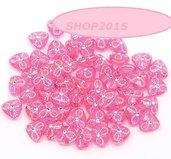 20 Distanziatori perle forma  trangolari rosa 9 MM