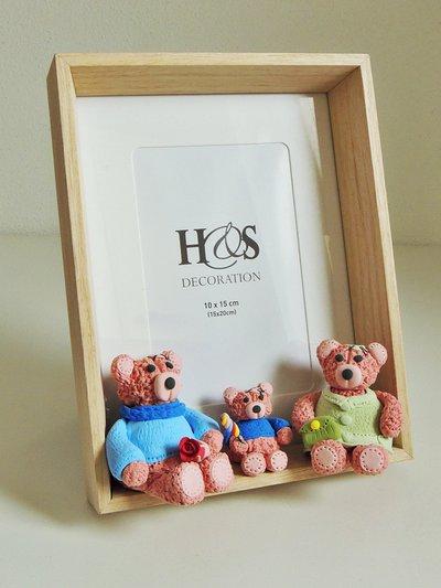 """Portafoto """"La famiglia degli orsetti"""" decorata a mano"""