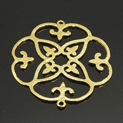 link fiore in filigrana  in ottone color oro 1 pz