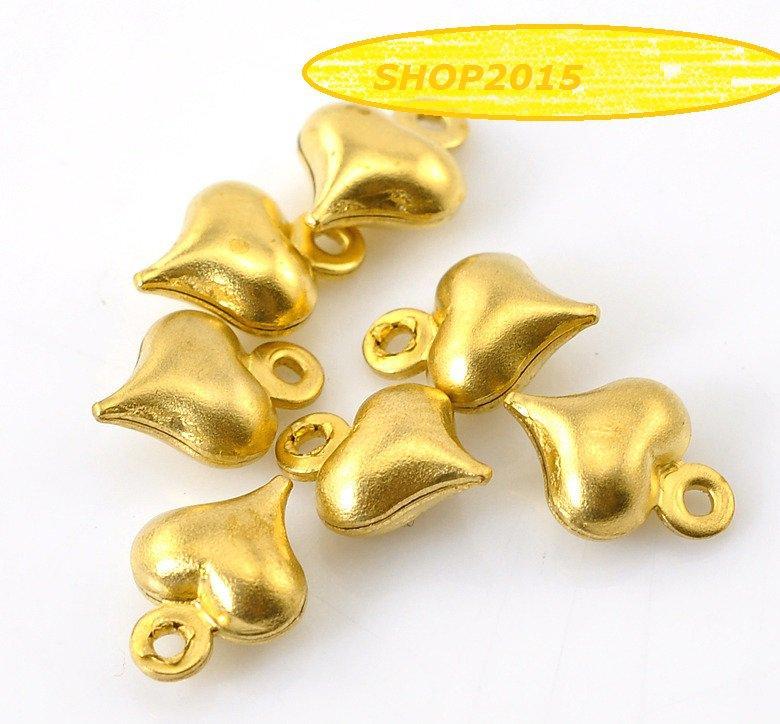 5 pz Charms ciondoli cuore, cuoricini 3d ottone 9x6 mm