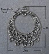link connettore in ottone  rotondo colore argento 1 pz