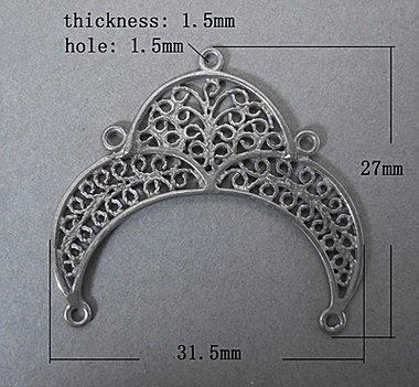 link connettore in ottone  colore argento 1 pz
