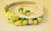 Cerchietto  con fiori kanzashi fatti a mano colore giallo