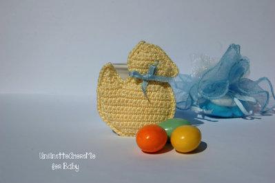 Paperella portachiave ad uncinetto - bomboniera per nascita e battesimo