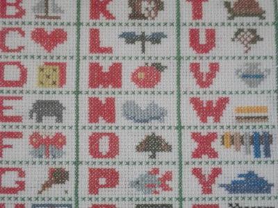 Ricamo a punto croce alfabeto incorniciato per cameretta for Lettere alfabeto punto croce per bambini