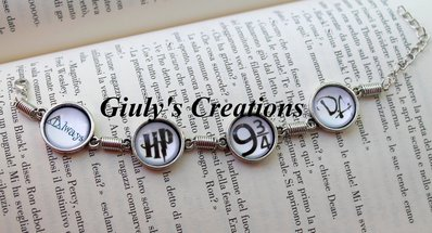 Bracciale HARRY POTTER con scritta Always, sigla HP di Harry Potter, Binario 9 e 3/4 e sigla DA Dumbledore's Army