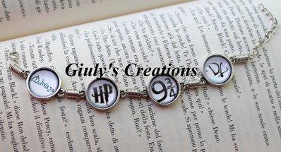Bracciale HARRY POTTER con scritta Always, sigla HP di Harry Potter, Binario 9 e 3/4 e sigla DA Dumbledore's Army