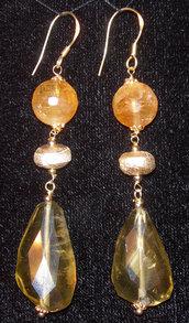Orecchini in argento vermeil, quarzo citrino e quarzo lemon taglio sasso