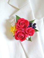 "Spilla ""Rose rosse"" fatta a mano"