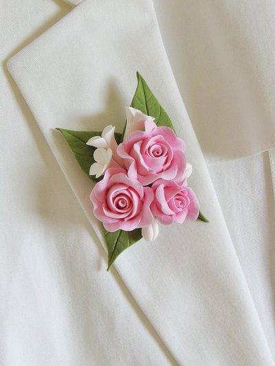 """Spilla """"Le rose rosa"""" fatta a mano"""