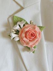 """Spilla """"La rosa"""" fatta a mano"""