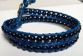 Chan luu 2 giri cuoio blu perline blu