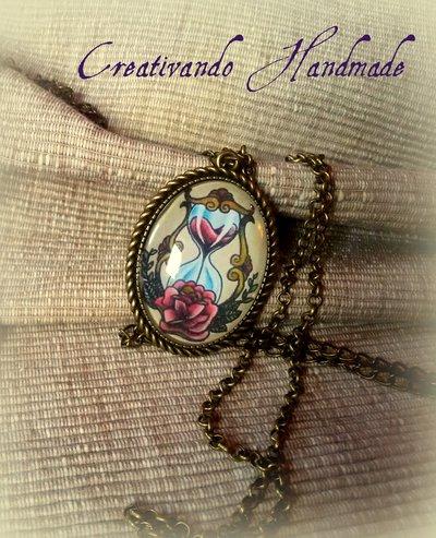 Ciondolo Cammeo Clessidra/Rosa 'Tattoo Collection'
