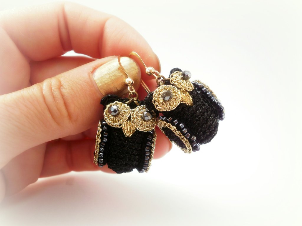 orecchini gufetti neri