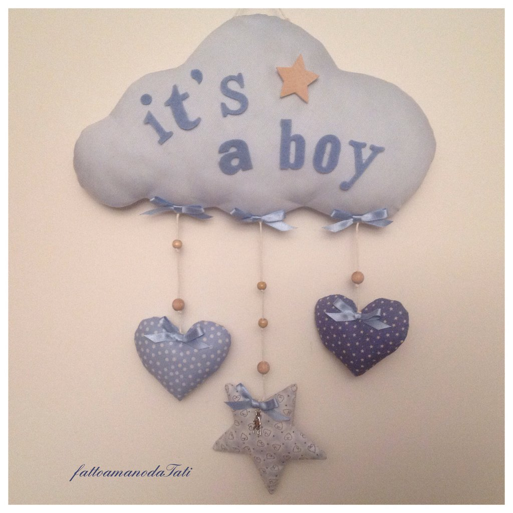 INSERZIONE RISERVATA PER GAIA  Fiocco nascita nuvola in piquet di cotone con cuori e stella per Elia